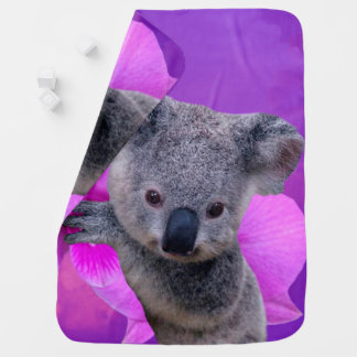 Koala und Orchideen Kinderwagendecke