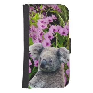 Koala und Orchideen Samsung S4 Geldbeutel Hülle