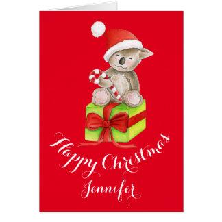 Koalabär niedliche Watercolorkunst Weihnachtskarte Karte