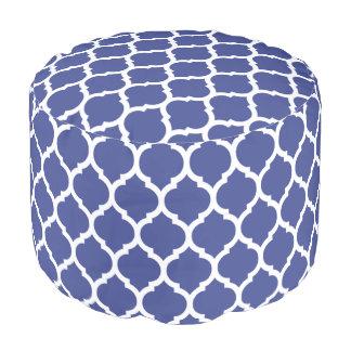 Kobalt-Blau-Marokkaner Quatrefoil Muster Hocker