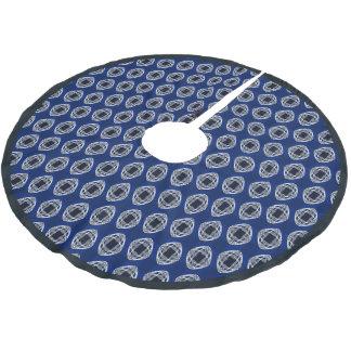 Kobalt-Blau-Nouveau überprüftes Muster Polyester Weihnachtsbaumdecke