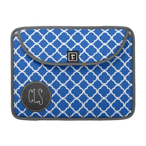 Kobalt-Blau Quatrefoil; Retro Tafel MacBook Pro Sleeve