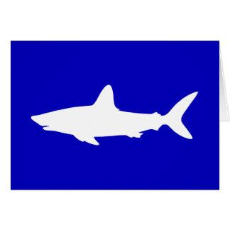 Kobalt-Blau-und weißerhaifisch-Silhouette danken Karte