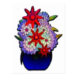Kobalt-Blau-Vase mit Blumen Postkarte