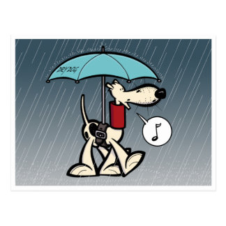 Kobi Köter im Regen (Serie 1) Postkarte