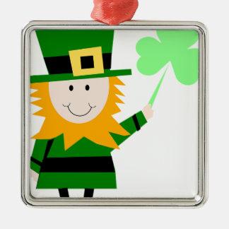 Kobold-glücklicher Klee-Mann Silbernes Ornament