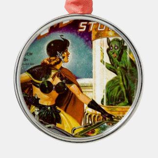 Kobold hinter Glas Rundes Silberfarbenes Ornament