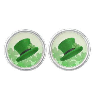 Koboldhut und -Kleeblätter St. Patricks Tages Manschettenknöpfe