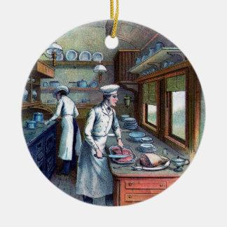 Koch, der in der Küche kocht - Vintag - Verzierung Rundes Keramik Ornament