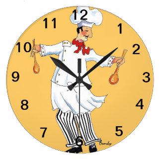 Koch, der Wand-Uhr wirft Große Wanduhr