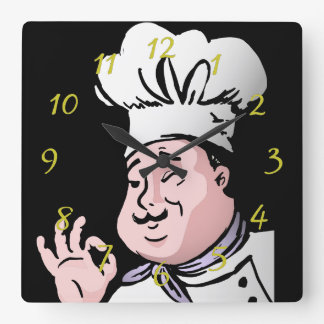 Koch genehmigen quadratische wanduhr