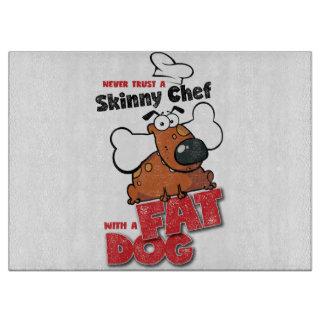 Koch mit fettem Hund - Ausschnitt-Brett 3 Schneidebrett