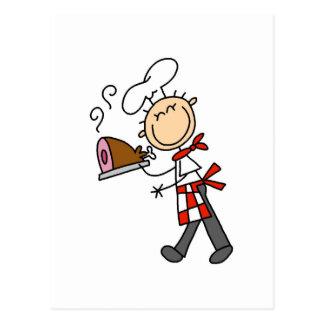 Koch mit gebackenen Schinken-T-Shirts und Postkarte
