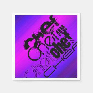 Koch; Vibrierendes violettes Blaues und magentarot Papierservietten