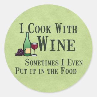 Kochen mit Wein Runder Aufkleber