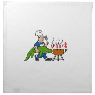 Kochs-Alligatorspachtel GRILLEN Grill-Cartoon Stoffserviette