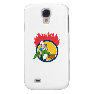 Kochs-Alligatorspachtel GRILLEN Grill-Feuer-Kreis Galaxy S4 Hülle
