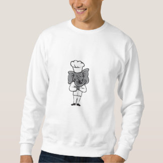 Kochs-Elefant-Arme kreuzten stehenden Cartoon Sweatshirt