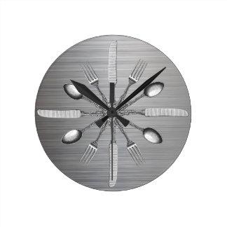 Kochs-Küchen-Gerät-Imitat-Metallstahl Runde Wanduhr