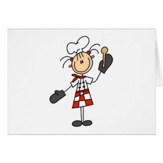 Kochs-Mädchen mit hölzernen Löffel-Karten Grußkarte