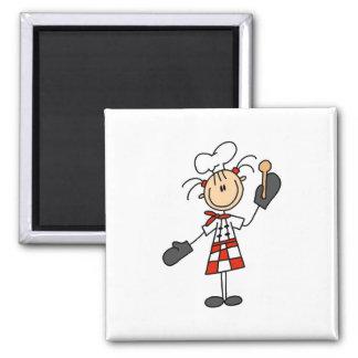 Kochs-Mädchen mit hölzernen Löffel-Magneten Quadratischer Magnet