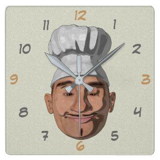 Kochs-Restaurant-Cartoon-Art Quadratische Wanduhr