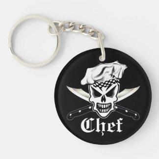Kochs-Schädel 2 und gekreuzte Kochs-Messer Einseitiger Runder Acryl Schlüsselanhänger
