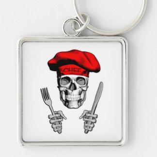 Kochs-Schädel: Messer und Gabel Silberfarbener Quadratischer Schlüsselanhänger