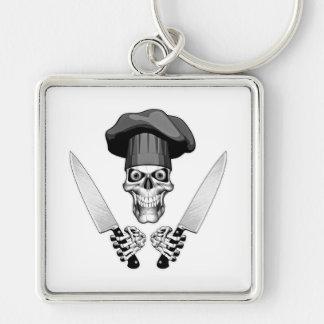 Kochs-Schädel mit Kochs-Messern Schlüsselanhänger
