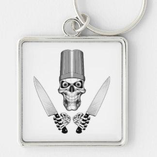 Kochs-Schädel mit Kochs-Messern Silberfarbener Quadratischer Schlüsselanhänger