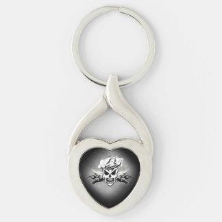 Kochs-Schädel und lodernde Kochs-Messer 2 Silberfarbener Herz Schlüsselanhänger