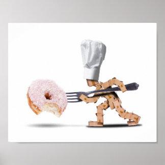 Kochskastencharakter, der einen großen Krapfen in Poster
