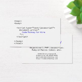Kodieren Sie Affe-Javascript Visitenkarte