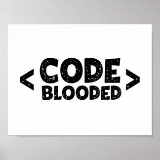 Kodieren Sie Blooded Hacker-Programmierer-Spaß Poster