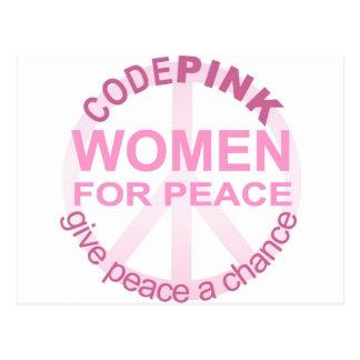 KODIEREN Sie rosa Frauen für Frieden Postkarte