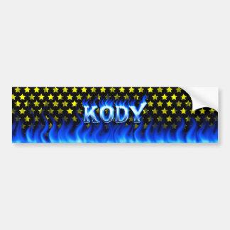 Kody blaues Feuer und Flammen-Autoaufkleberentwurf Autoaufkleber