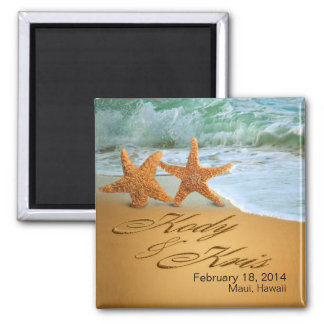 Kody u. Kris Starfish-Paare NAMEN im SAND Quadratischer Magnet