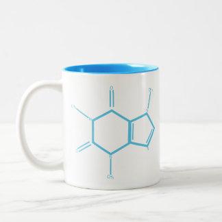 Koffein-Molekül - hellblau Zweifarbige Tasse