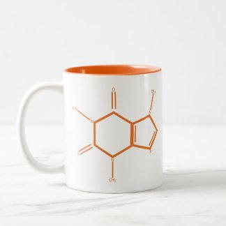 Koffein-Molekül - Orange Zweifarbige Tasse