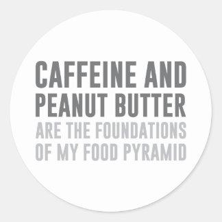 Koffein u. Erdnussbutter Runder Aufkleber