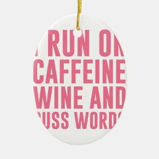 Koffein-Wein u. fluchen Wörter Keramik Ornament
