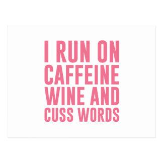 Koffein-Wein u. fluchen Wörter Postkarte