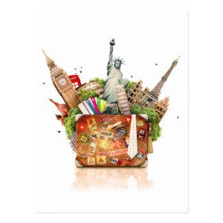 Koffer voll Reise-Bestimmungsorte Postkarte