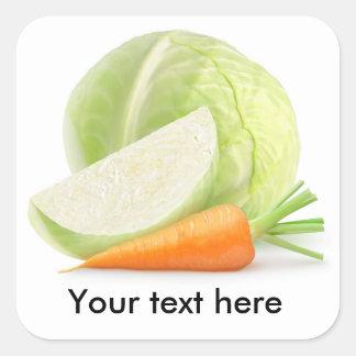 Kohl und Karotte Quadratischer Aufkleber