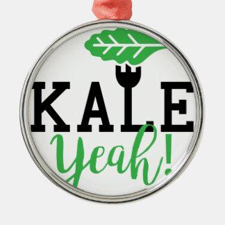 Kohl-Yeah lustiger veganer Entwurf Silbernes Ornament
