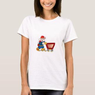 Kohlen-Bergmann, der Wagen-Frauen-T - Shirt drückt