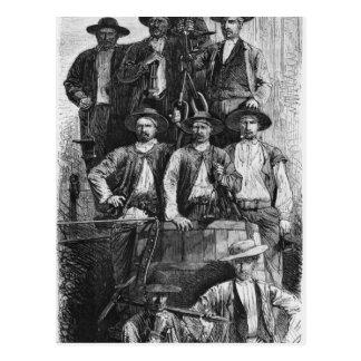 Kohlen-Bergmänner von Le Creusot während des Postkarte