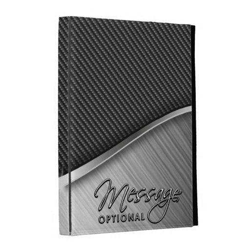 Kohlenstoff-Faser u. bürstete Metall4 iPad FolioHü