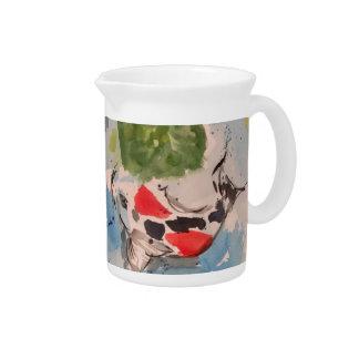 Koi Aquarell-Kunst-Getränkekrug Getränke Pitcher