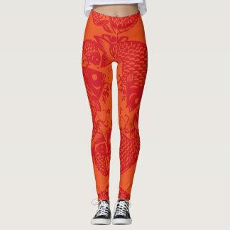 Koi Fisch-Mode-asiatische Kunst Papercut Gamaschen Leggings